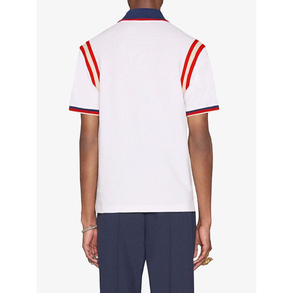 Gucci Embroidered Bee Logo Polo (White)