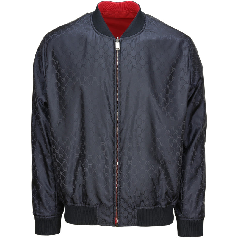 Gucci GG Pattern Reversible Bomber Jacket (Navy/Red)