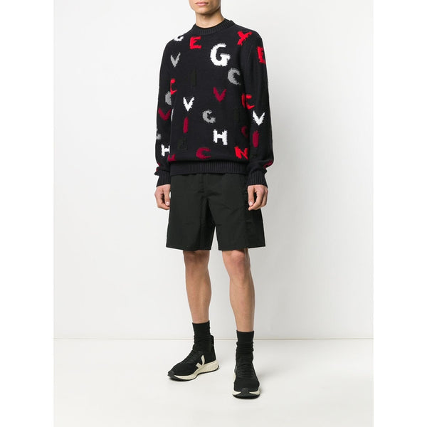 Givenchy Letter Intarsia Knit Jumper (Black)
