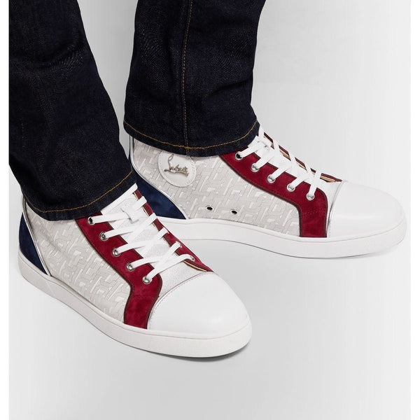 Christian Louboutin Louis Orlato Suede High (Red/Blue/White)