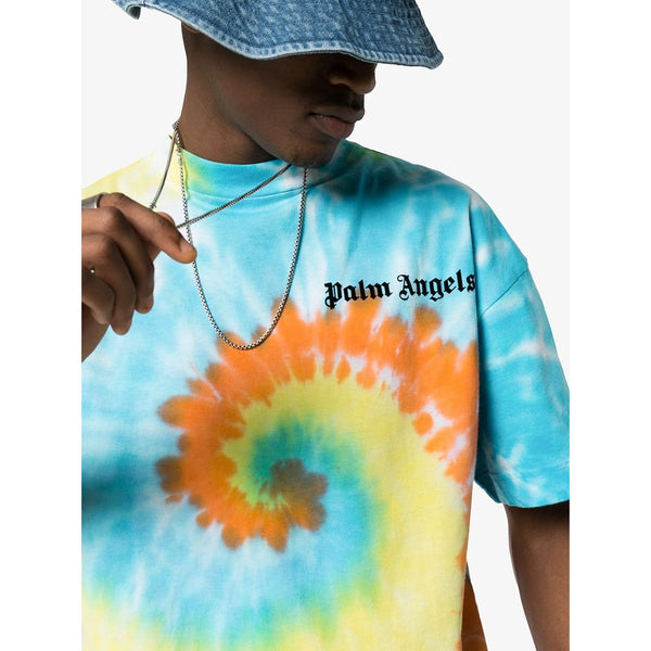 Palm Angels Tie-Dye Print T-shirt (Blue/Orange/Yellow)