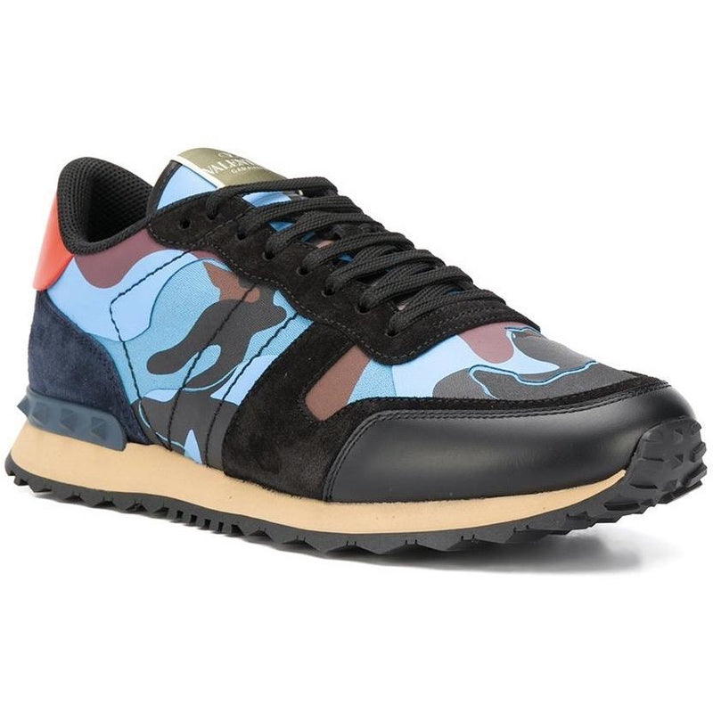 Valentino Camo Rockstud Runners (Blue/Red/Black)