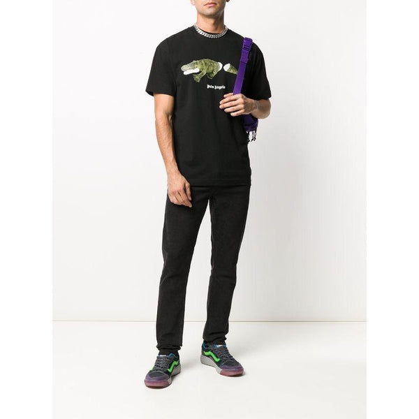 Palm Angels Crocodile-Print T-shirt (Black)