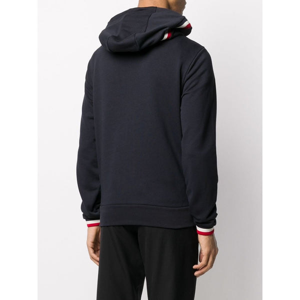 Moncler Tricolour-Trim Zipped Hoodie (Navy)