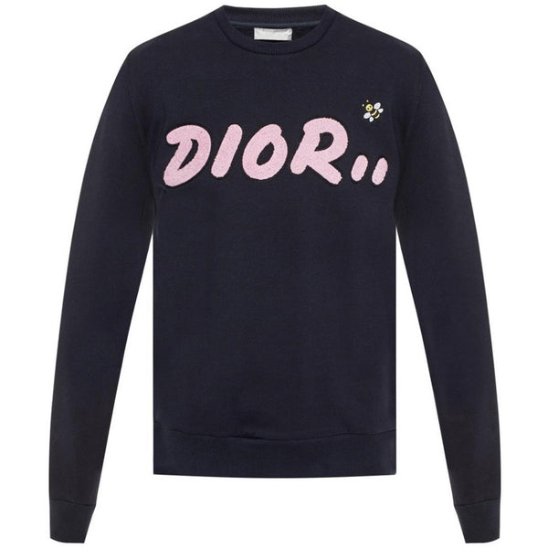 Dior Kaws Embroidered Logo Jumper (Navy/Pink)