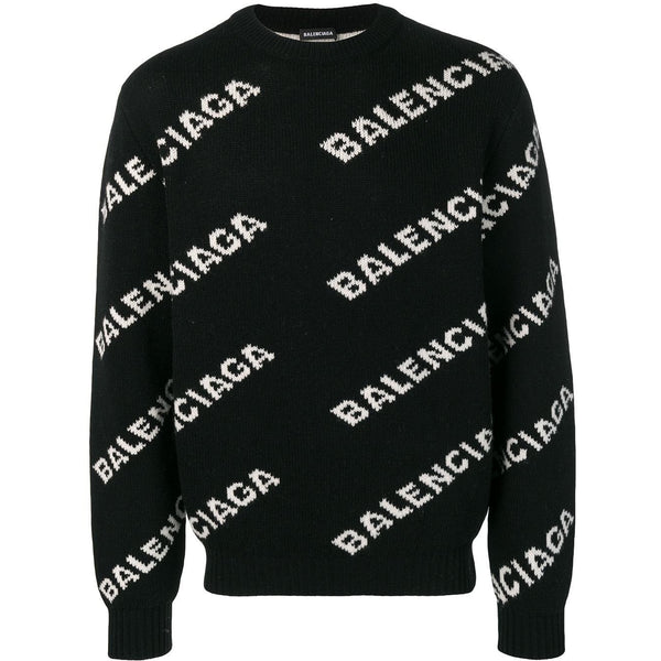 Balenciaga All-Over Logo Jumper (Black)