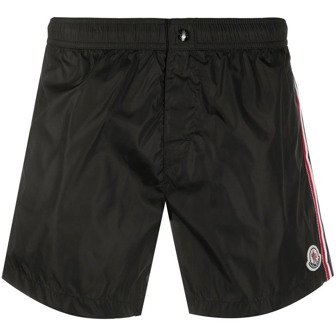 Moncler Patch Logo Tricolour Stripe Swimming Shorts (Black)