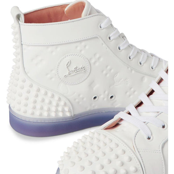 Christian Louboutin Lou Spikes 2 Embossed Leather High-atop Trainers (White)