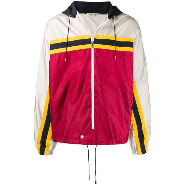 Gucci GG Supreme Panelled Jacket (White/Red)