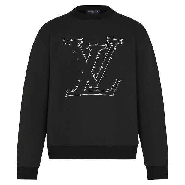 Louis Vuitton LV Stitch Print Embroidered Jumper (Black)