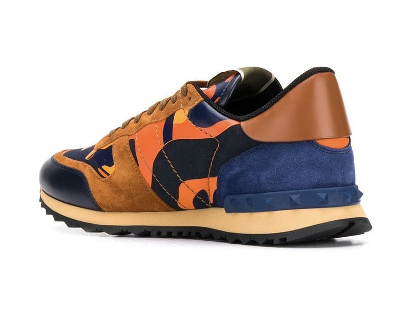 Valentino Camo Rockstud Runners (Orange/Blue)