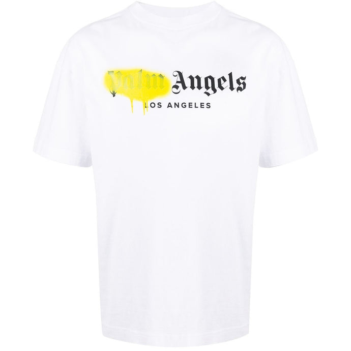 Palm Angels Los Angeles Spray Paint T-shirt (White/Yellow)