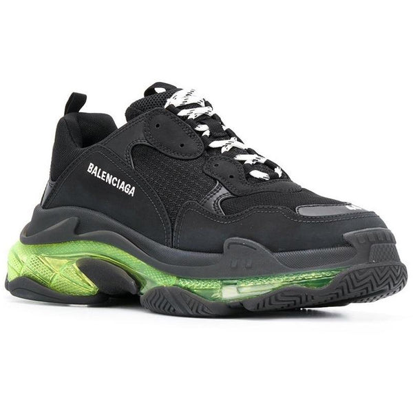 Balenciaga Triple S Clear Sole Trainers (Black/Neon)