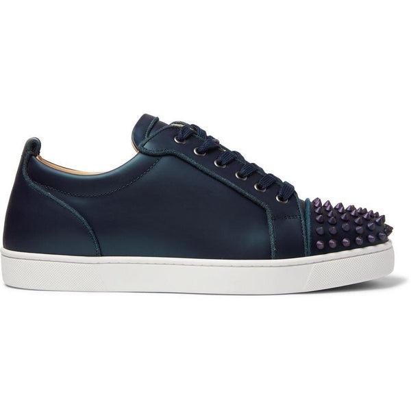 Christian Louboutin Louis Junior Spikes Iridescent Leather Trainers (Blue)