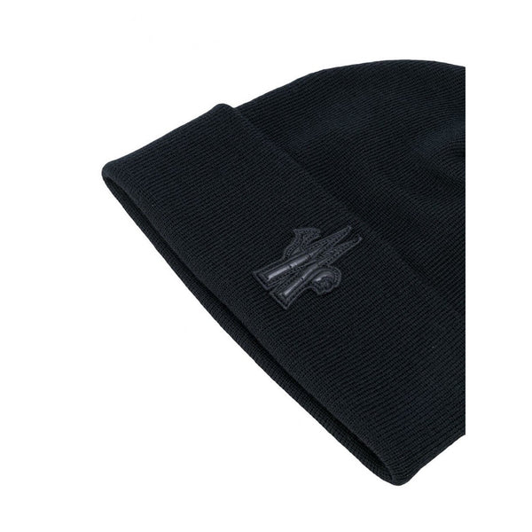 Moncler Grenoble Logo Patch Knitted Beanie (Black)