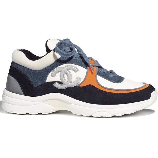 Chanel Nylon & Suede Reflective CC Logo Trainers (Blue/Orange)