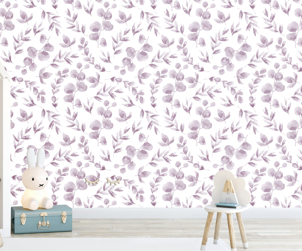 Aquarelle Wine Flowers Self Adhesive Wallpaper