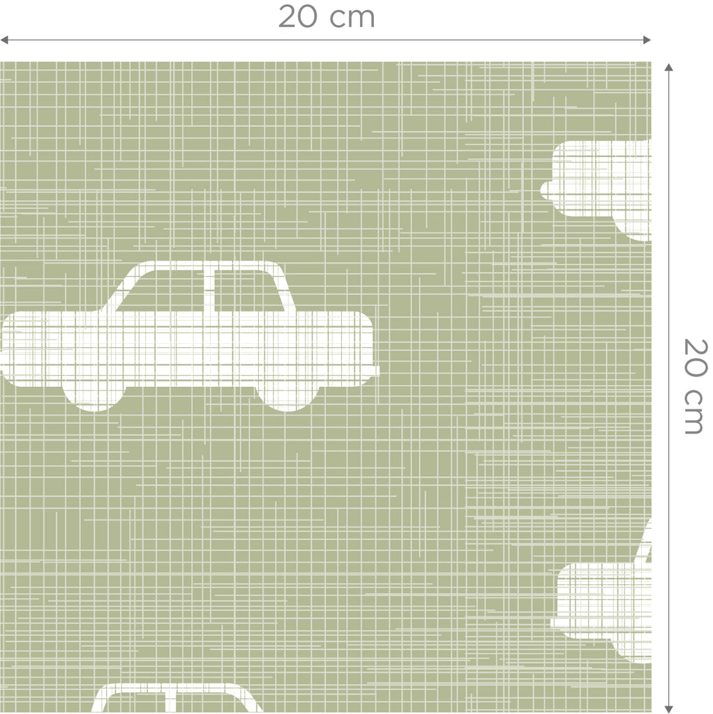 Cars Green Self Adhesive Wallpaper