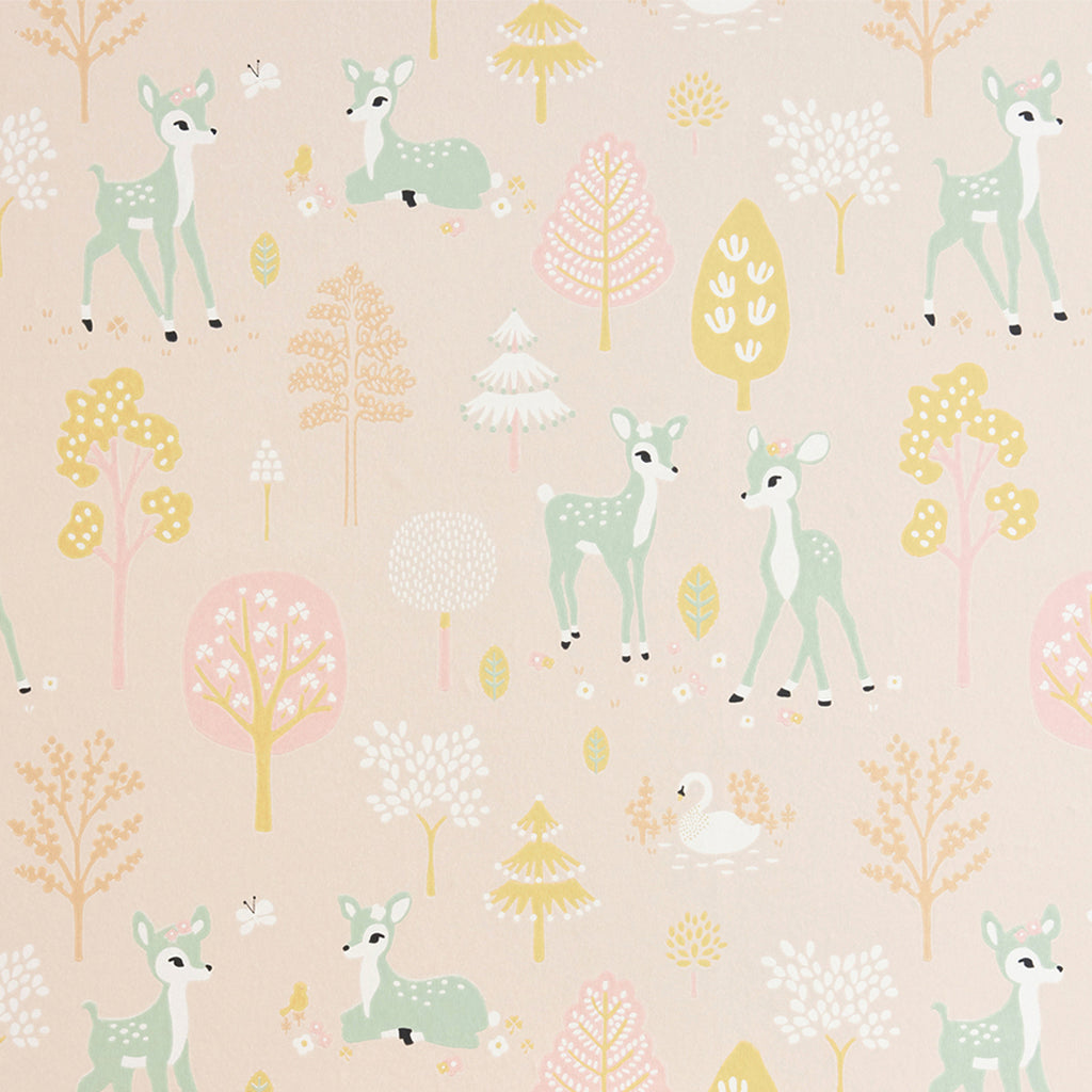 Pink Bambi and Forest wallpaper for Nursery or Kid's Room