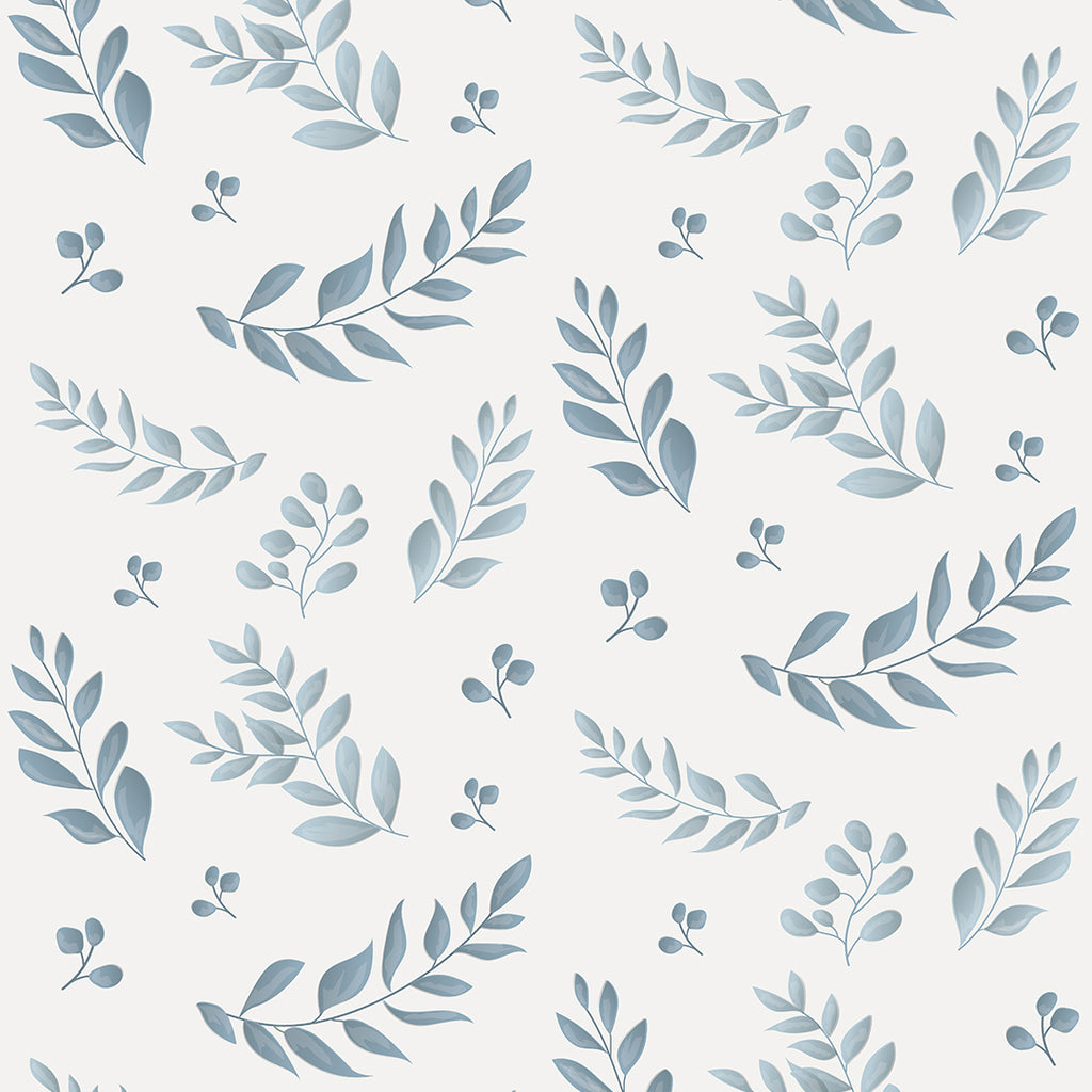 Sample Leafy Blue Self Adhesive Wallpaper