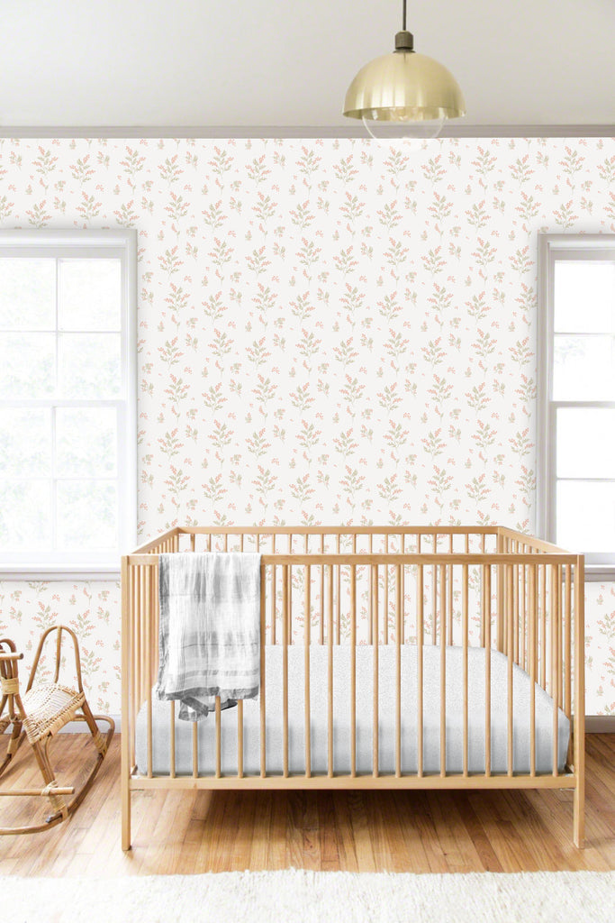 Sample Tove Apricot/Green Self Adhesive Wallpaper