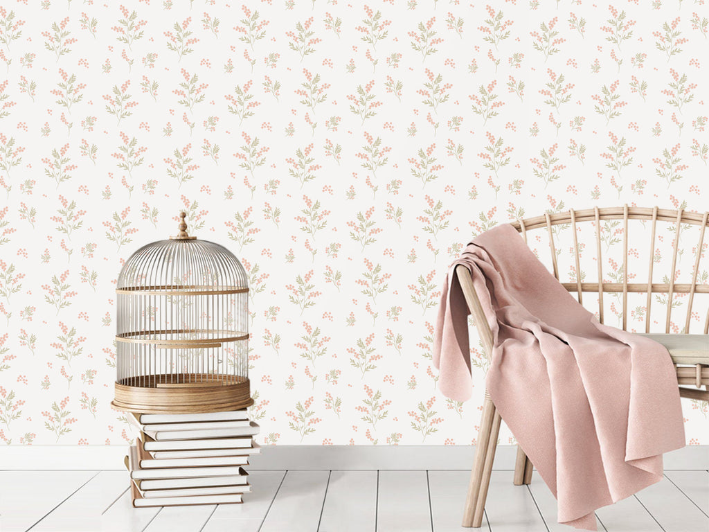 Tove Apricot/Green Self Adhesive Wallpaper