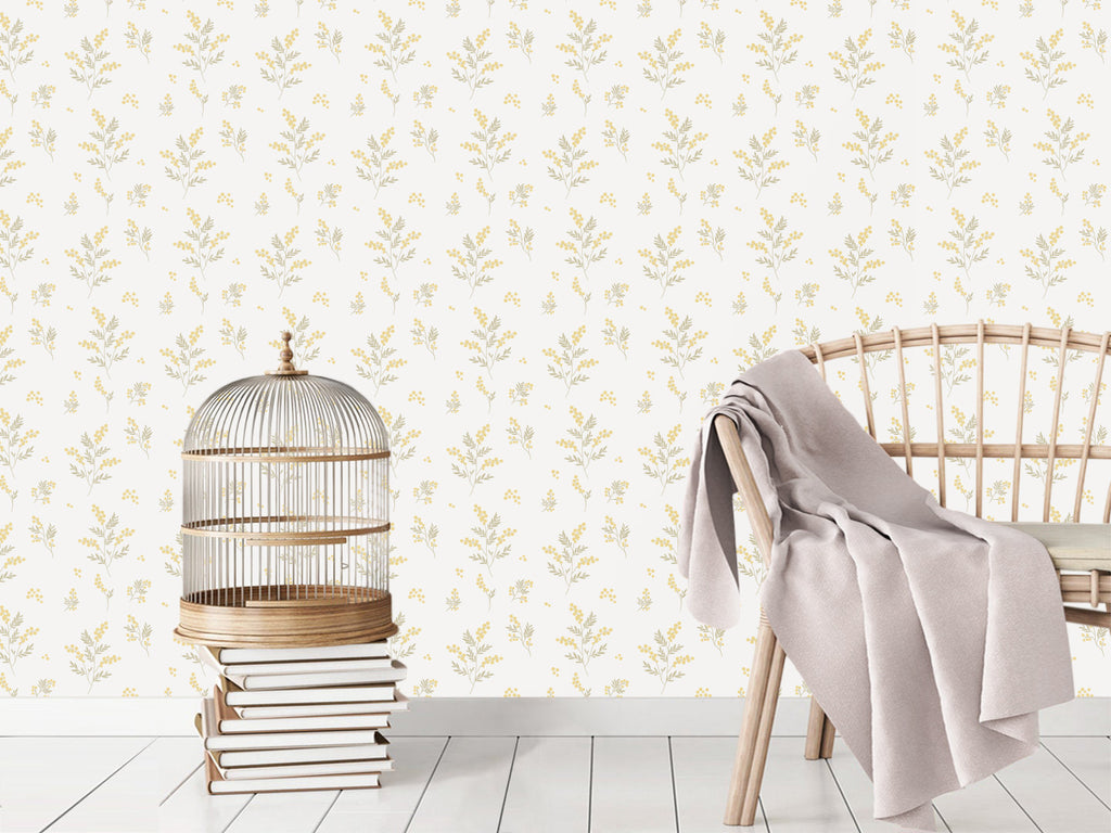 Sample Tove Yellow/Green Self Adhesive Wallpaper