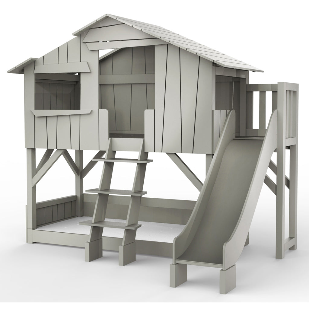 Treehouse Bunk Bed with Platform and Slide - Mathy by Bols