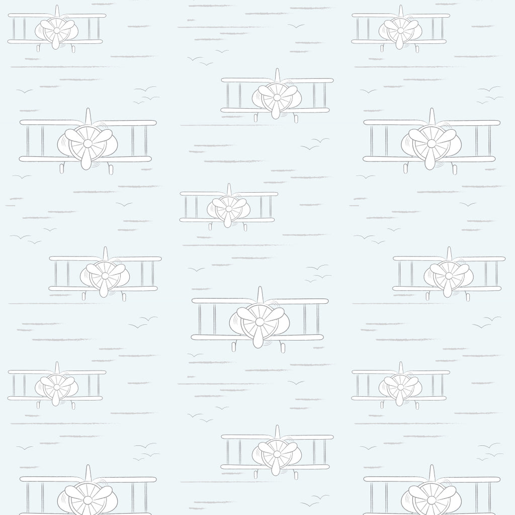Planes Light Blue Self Adhesive Wallpaper