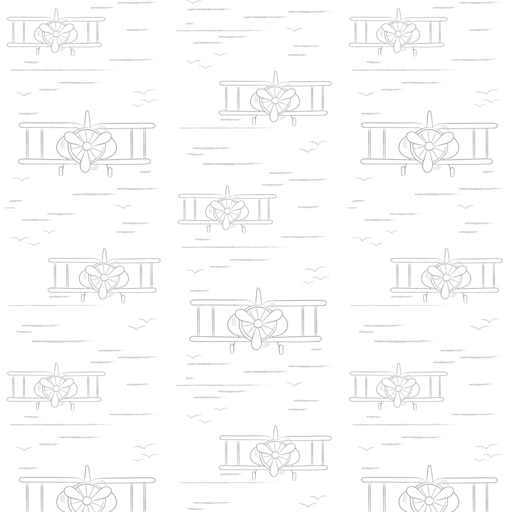 Planes White/Grey Self Adhesive Wallpaper