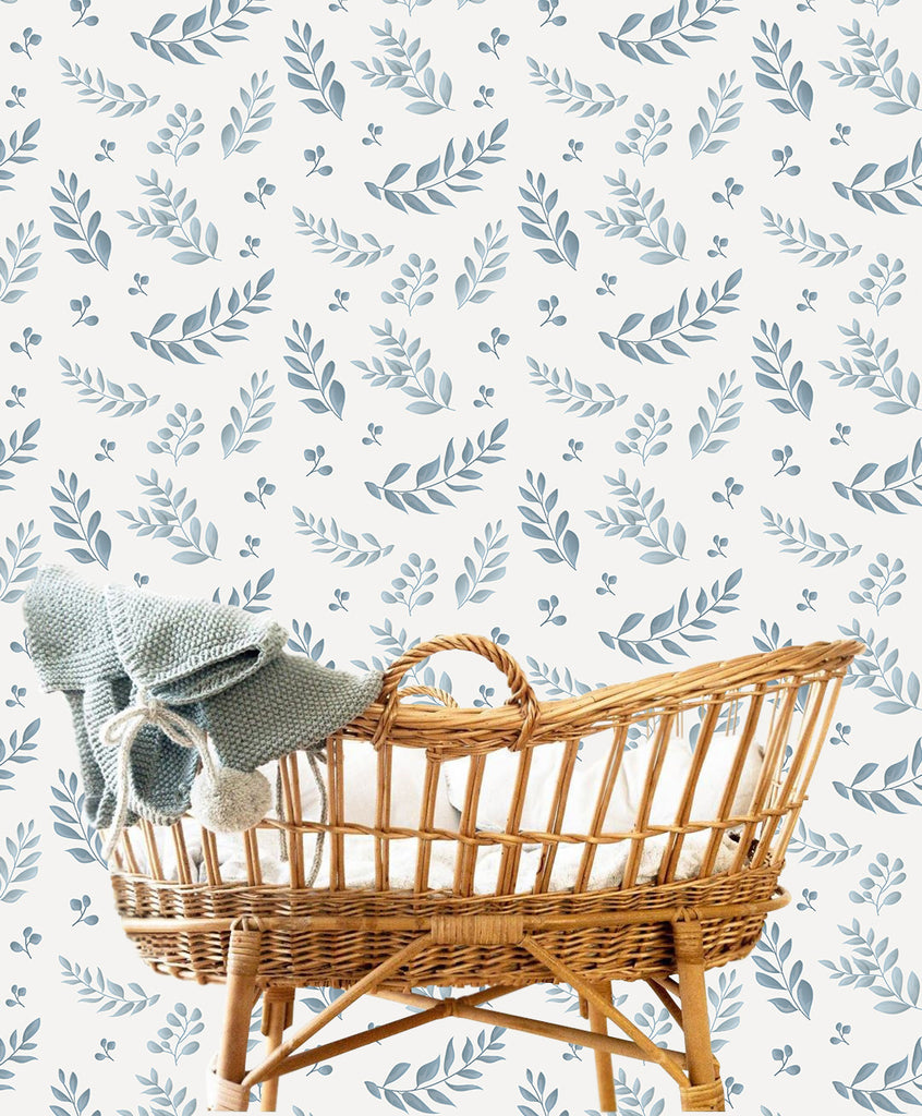 Leafy Blue Self Adhesive Wallpaper