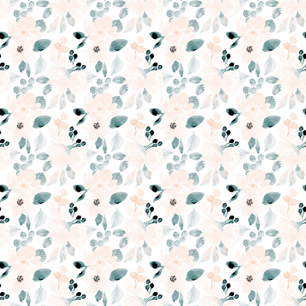 Aquarelle Flowers Peach Blue Self Adhesive wallpaper
