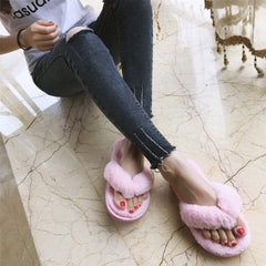 COOTELILI Winter Fashion Women Home Slippers Faux Fur Warm Shoes Woman Slip on Flats Female Fur Flip Flops Pink Plus Size 44 45