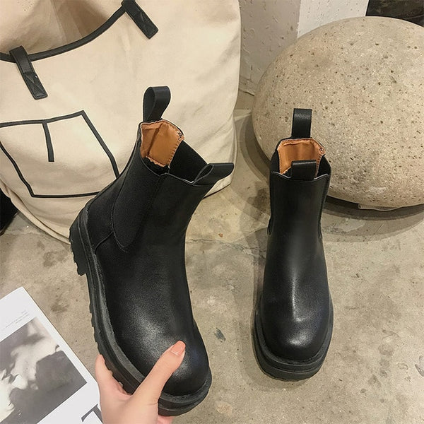 Women Chunky Heel Ankle Boots Woman Shoes Autumn Brand Designer Chelsea Boots Female Platform Boots Lasdies Fashion