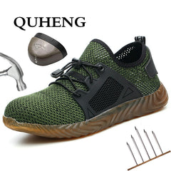 QUHENG Work Safety Shoes Woman and Men Be Applicable Outdoor Steel Toe Anti Smashing Anti-slip Puncture Proof Work Boots