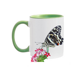 11oz. Mug Butterfly on Red Flowers