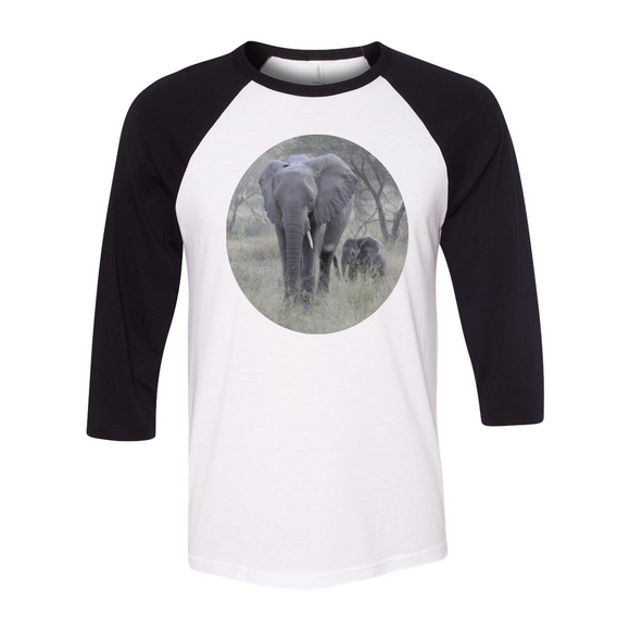 Unisex 3/4 Sleeve Elephants
