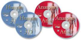 4 CD-ROM Anatomy Library (Human 3D Reference Collection 1 & 2, and Anatomy Atlas 1 & 2)