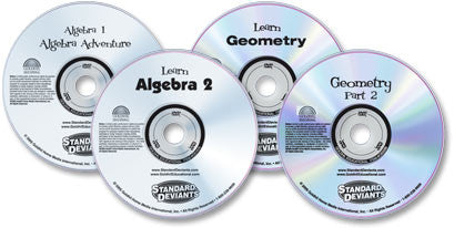 4 DVD Set (Algebra 1/Learn Algebra 2/Learn Geometry 1/Geometry 2)