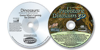 2 Disc Set (Dinosaurs Lifestyles of the Big & Carnivorous DVD /Prehistoric Dinosaurs 3D CD-ROM)