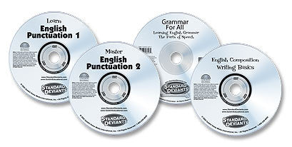 4 DVD Set (English Composition: Writing Basics /Grammar for All: Learning English Grammar /Learn English Punctuation /Master English Punctuation)