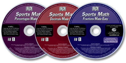 Set of 3 Sports Math CD-ROMs (Fractions, Decimals, and Percentages)