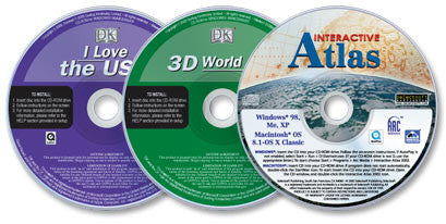 3 CD-ROM set (Interactive Atlas /3D World Atlas /I Love the USA)