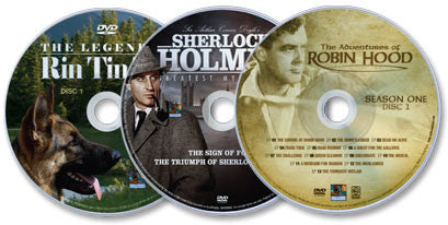 3 DVDs (The Legend of Rin Tin Tin/Sherlock Holmes Greatest Mysteries 1/Adventures of Robin Hood)