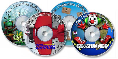 4 CD-ROM Set (Air Explorer /Math Barge /GeoRunner /Quadrinarian Word Find)