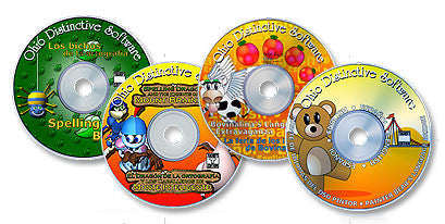 4 CD-ROM Set (Spelling Bugs /Spelling Dragon and the Knights of Mt. Brainier /Bovinalina's Language Extravaganza /Painter Bear's Language Bridge)