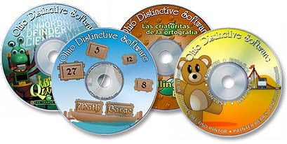 4 CD-ROM Set (Leonardo's Spanish /Math Barge /Spelling Bugs HD /Quad. Word Find)