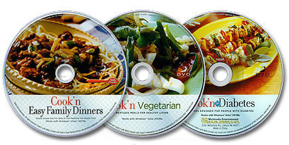 3 CD-ROM Set (Cook'n Easy Family Dinners /Cook'n Vegetarian /Cook'n for Diabetes)