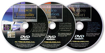3 DVDs (Tropical Tranquility /Video Vacation /Video Safari)