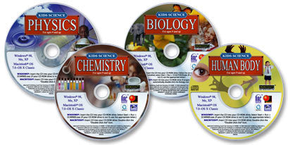 4 CD-ROM Kids Science Set (Human Body /Chemistry /Biology /Physics)